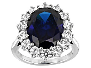 Pre-Owned Blue And White Cubic Zirconia Rhodium Over Sterling Silver Ring 2.71ctw