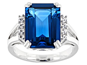 Pre-Owned Lab Created Blue Spinel and White Cubic Zirconia Rhodium Over Sterling Silver Ring 9.09ctw