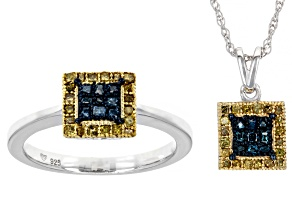 Pre-Owned Blue And Yellow Diamond Rhodium Over Sterling Silver Ring And Pendant Jewelry Set 0.50ctw
