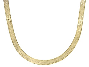 Pre-Owned 18K Yellow Gold Over Sterling Silver 4.4mm Greek Herringbone Chain 20 Inch Necklace