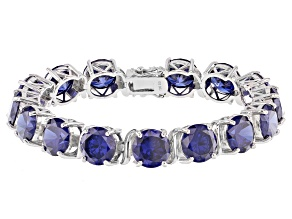 Pre-Owned Blue Cubic Zirconia Rhodium Over Sterling Silver Tennis Bracelet 94.70ctw