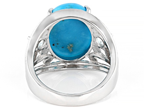 Pre-Owned Blue Turquoise Rhodium Over Sterling Silver Ring 16x12mm