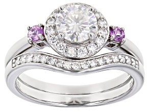 Pre-Owned Moissanite and pink sapphire platineve ring with band 1.27ctw DEW.