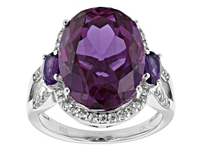 Pre-Owned Purple Lab Created Color Change Sapphire Rhodium Over Sterling Silver Ring 12.13ctw