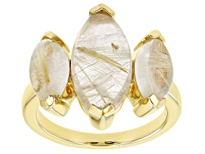 Pre-Owned Golden Rutilated Quartz 18k Yellow Gold Over Silver 3-Stone Ring 6.48ctw