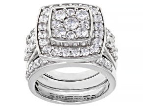 Pre-Owned White Cubic Zirconia Rhodium Over Sterling Silver Ring With Bands 6.40ctw