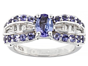 Pre-Owned Blue Tanzanite Rhodium Over Sterling Silver Ring 1.80ctw