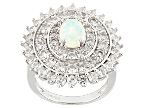 Pre-Owned Ethiopian Opal And White Zircon Sterling Silver Ring 4.50ctw