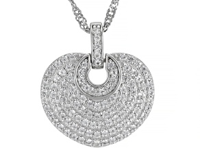 Pre-Owned White Zircon Rhodium Over Sterling Silver Pendant with Chain 1.02ctw