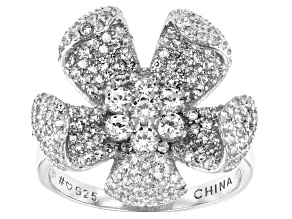 Pre-Owned White Cubic Zirconia Rhodium Over Sterling Silver Flower Ring 3.16ctw (1.77ctw DEW)