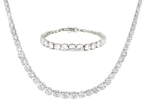 Pre-Owned White Cubic Zirconia Rhodium Over Sterling Silver Necklace & Bracelet Set 100.00ctw
