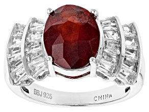 Pre-Owned Red Hessonite Garnet Sterling Silver Ring 5.63ctw