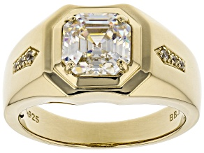 Pre-Owned Fabulite Strontium Titanate And White Zircon 18k Yellow Gold Over Silver Mens Ring 3.29ctw