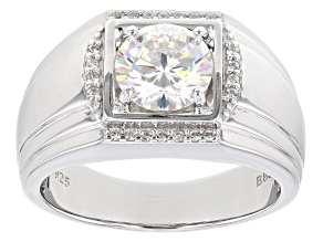 Pre-Owned Fabulite Strontium Titanate And White Zircon  Rhodium Over Silver Mens Ring 2.63ctw.