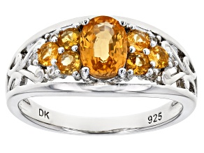 Pre-Owned Orange Mandarin Garnet  Rhodium Over Silver Ring 1.49ctw