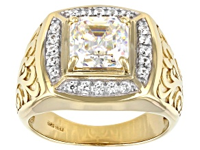Pre-Owned Fabulite Strontium Titanate And White Zircon 18k Yellow Gold Over Silver Mens Ring 3.63ctw