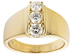 Pre-Owned Moissanite 14k Yellow Gold Over Silver Ring .69ctw DEW