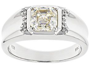 Pre-Owned Fabulite Strontium Titanate And White Zircon Rhodium Over Silver Mens Ring 2.47ctw.