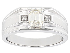 Pre-Owned Fabulite Strontium Titanate And White Zircon  Rhodium Over Silver Mens Ring 1.33ctw.