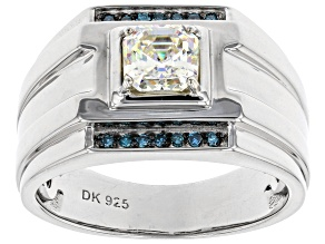 Pre-Owned Fabulite Strontium Titanate and blue diamond rhodium over silver mens ring 1.50ctw