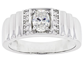 Pre-Owned Fabulite Strontium Titanate And White Zircon  Rhodium Over Silver Mens Ring 1.11ctw.