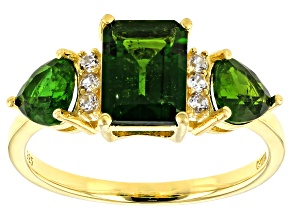 Pre-Owned Green chrome diopside 18k gold over silver ring 2.46ctw