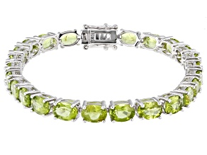 Pre-Owned Oval Peridot Rhodium Over Sterling Silver Tennis Bracelet