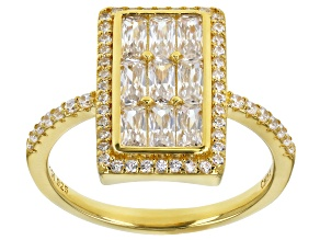 Pre-Owned White Cubic Zirconia 18K Yellow Gold Over Sterling Silver Ring 2.22ctw