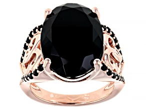 Pre-Owned Black Spinel 18k Rose Gold Over Sterling Silver Ring 14.50ctw