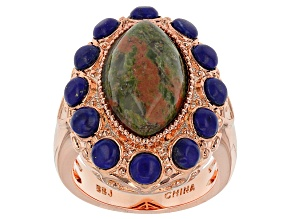 Pre-Owned Copper Unakite And Lazuli Ring