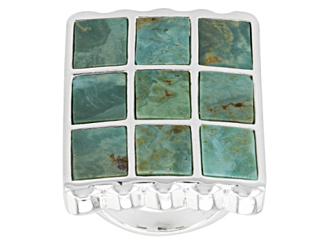 Pre-Owned Turquoise Sterling Silver Over Brass Ring.
