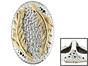Pre-Owned Black Spinel 18k Yellow Gold Over Bronze And Sterling Silver Leaf Ring 1.17ctw