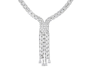 Pre-Owned White Cubic Zirconia Rhodium Over Sterling Silver Statement Necklace 62.98ctw