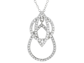 Pre-Owned white cubic zirconia rhodium over silver pendant with chain