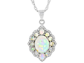 Pre-Owned Multicolor Ethiopian Opal Rhodium Over Silver Pendant With Chain 2.81ctw