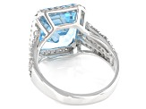 Pre-Owned  Blue Topaz Rhodium Over Silver Ring 8.30ctw