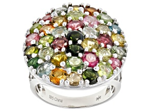 Pre-Owned Multi-color Tourmaline Rhodium Over Silver Ring 5.00ctw