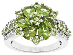 Pre-Owned Green Peridot Rhodium Over Sterling Silver Ring 3.56ctw