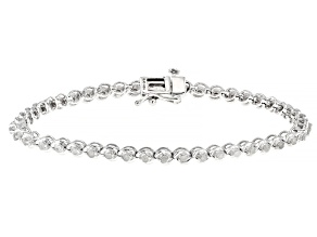 Pre-Owned White Diamond Rhodium Over Sterling Silver Tennis Bracelet 0.90ctw