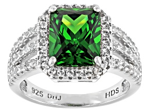 Pre-Owned Green Cubic Zirconia And Lab White Sapphire Rhodium Over Sterling Silver Ring 5.63ctw