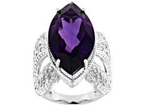 Pre-Owned Purple Amethyst Rhodium Over Sterling silver Solitaire Ring 9.77ct
