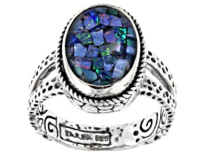 Pre-Owned Mosaic Opal Doublet Sterling Silver Solitaire Ring