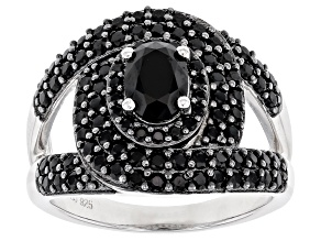 Pre-Owned Black Spinel Rhodium Over Silver Ring 2.26ctw