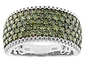 Pre-Owned Green Diamond Rhodium Over Sterling Silver Wide Band Ring 2.00ctw