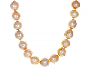 Pre-Owned Natural Peach Color Cultured Kasumiga Pearl Rhodium Over Sterling Silver 18 Inch Strand Ne