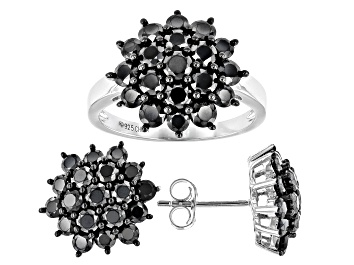 Picture of Pre-Owned Black Spinel Rhodium Over Sterling Silver Earring and Ring Set 6.23ctw