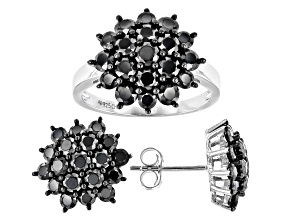 Pre-Owned Black Spinel Rhodium Over Sterling Silver Earring and Ring Set 6.23ctw