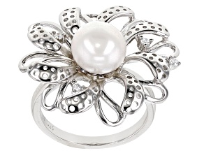 Pre-Owned White Cultured Freshwater Pearl & Cubic Zirconia Rhodium Over Sterling Silver Flower Ring