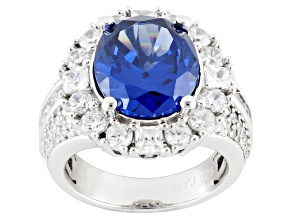 Pre-Owned Blue And White Cubic Zirconia Silver Ring 8.06ctw