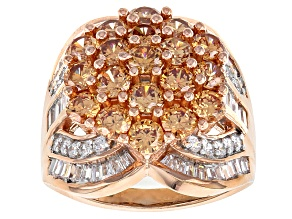 Pre-Owned Brown And White Cubic Zirconia 18k Rose Gold Over Silver Ring 8.13ctw (4.93ctw DEW)